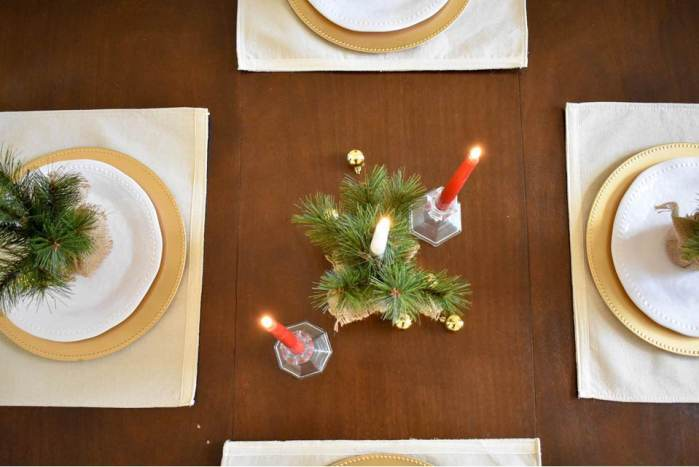 overhead view of classic Christmas tablescape