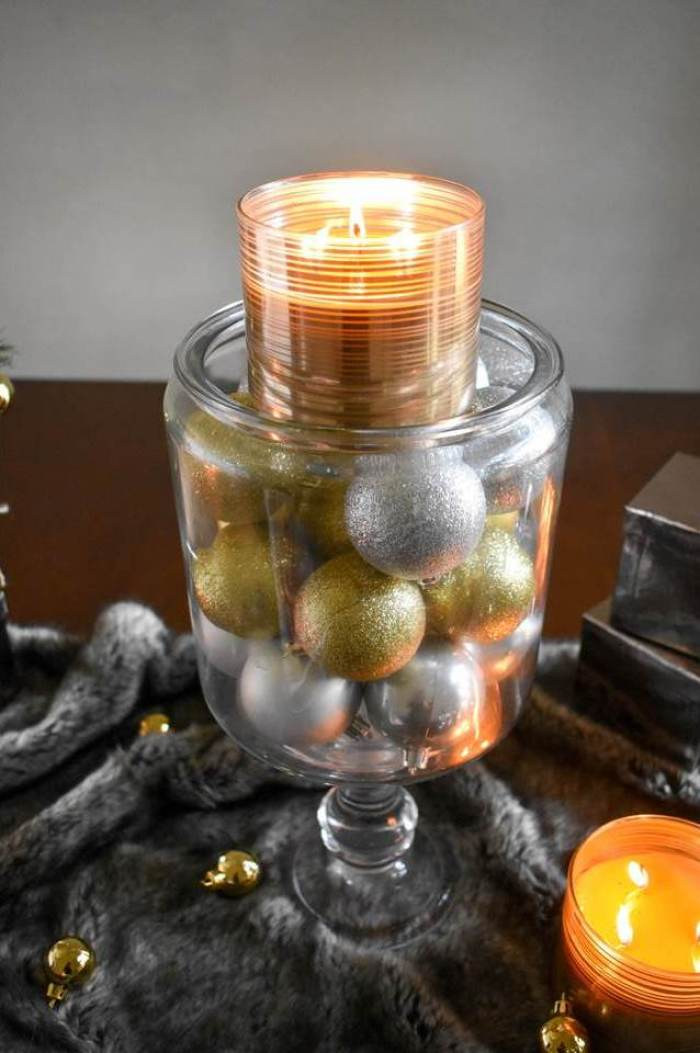 silver and gold Christmas centerpiece