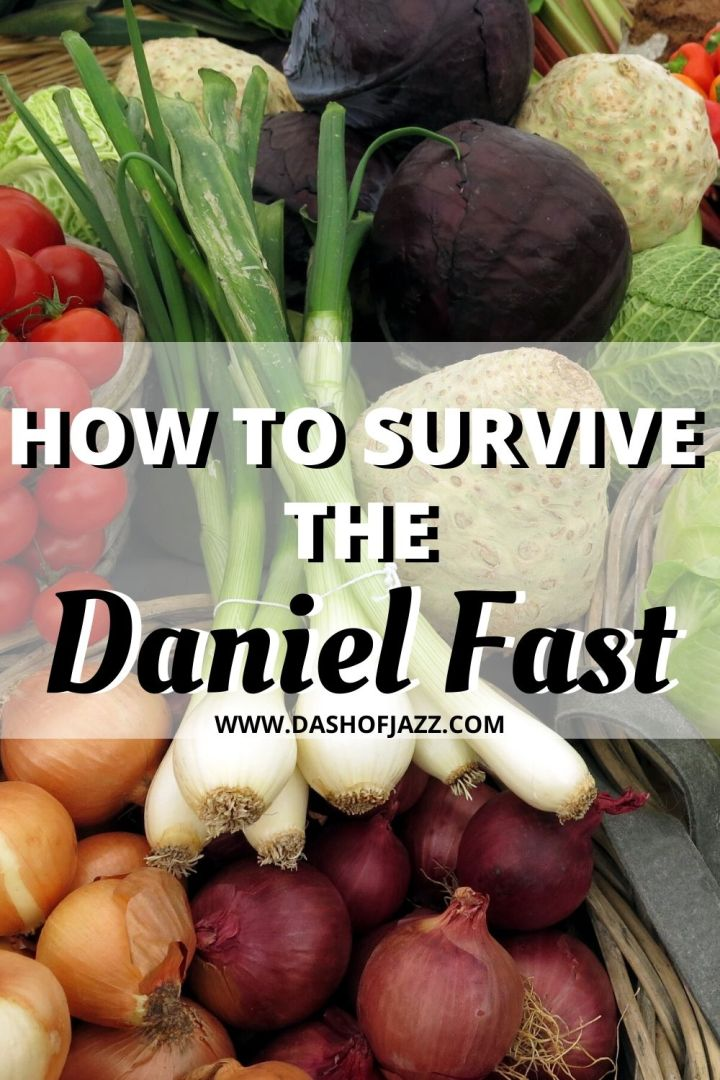 """baskets of produce with text overlay """"how to survive the daniel fast"""""""