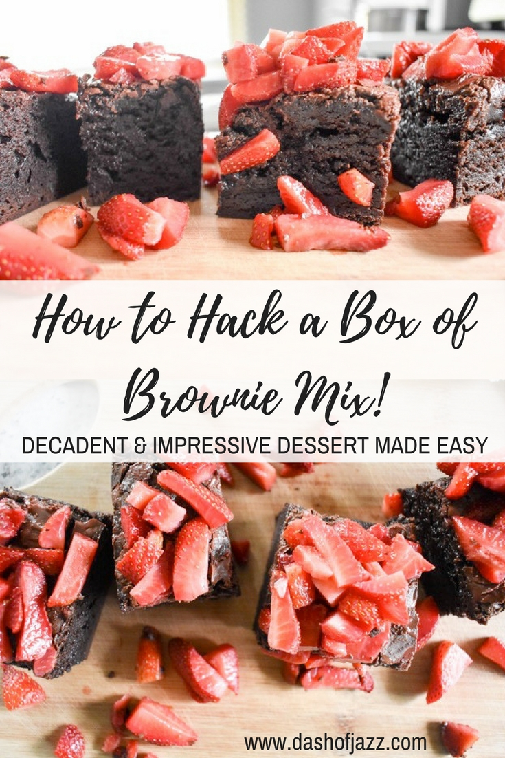 With these three easy tricks to hack a box of brownie mix into an impressive and indulgent dessert, no one will ever suspect your batch wasn\'t made from scratch! Recipe by Dash of Jazz #dashofjazzblog #boxmixmbrowniesbetter #boxmixbrownies #semihomemadedesserts