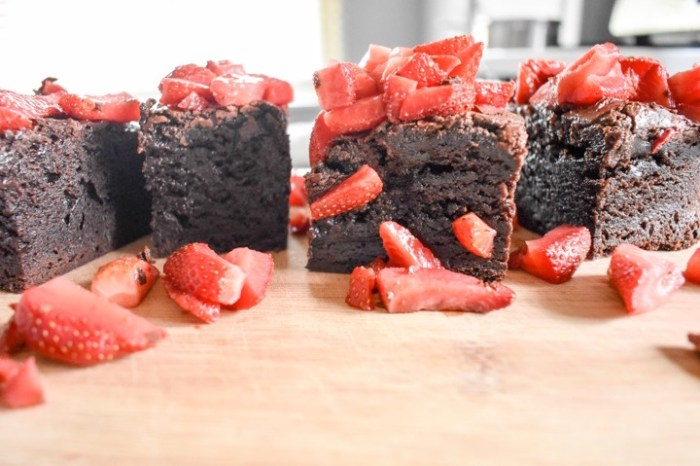 box mix brownies topped with sugared strawberries