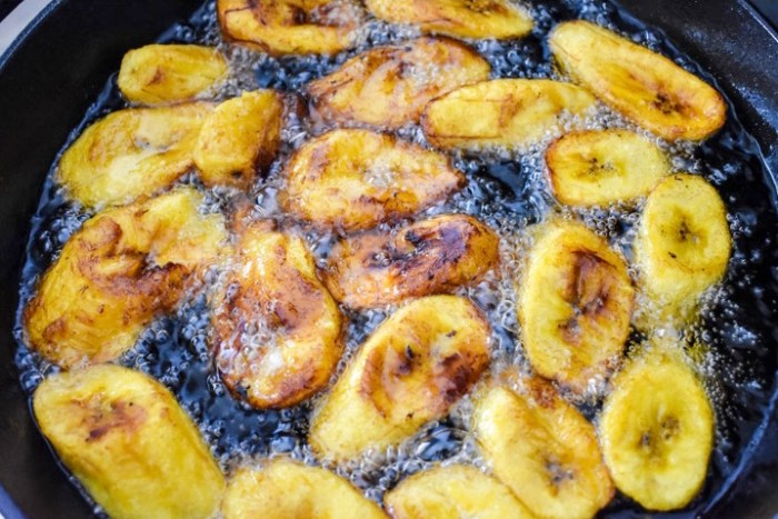 plantain frying in oil