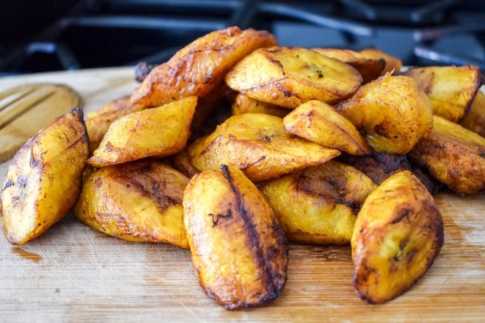 golden brown fried plantain on cooking board