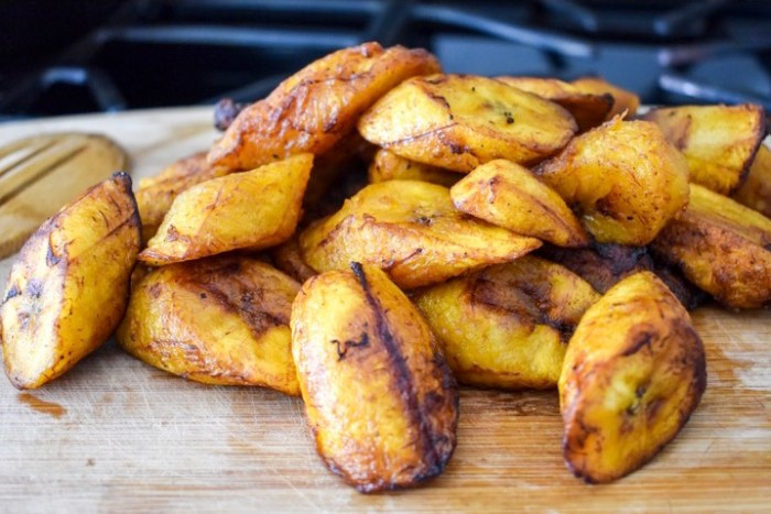 golden brown fried plantain on cooking board.