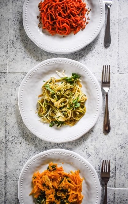 3 sweet and savory recipe ideas using spiralized butternut squash, zucchini, and sweet potato veggie noodles. By Dash of Jazz #spiralized #veggienoodles