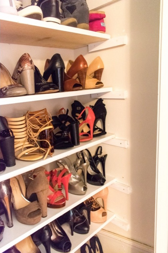 shoes organized on closet shelves
