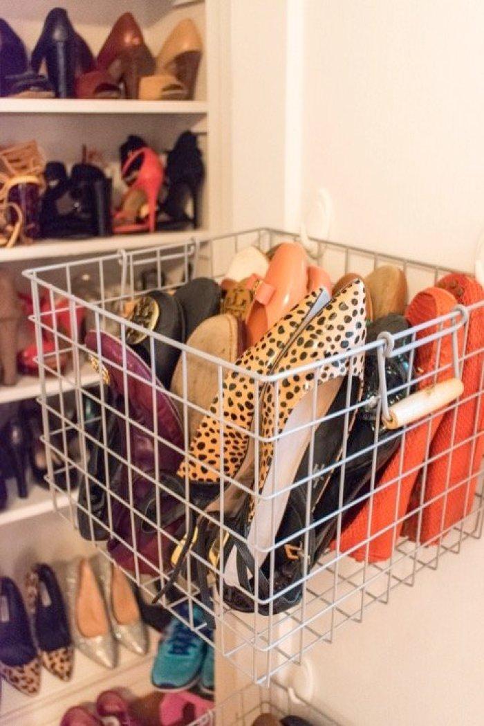 hanging basket full of flat shoes