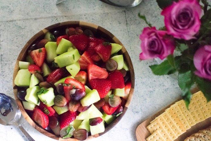 Fruit Salad with Sweet Orange Mint Dressing | Dash of Jazz