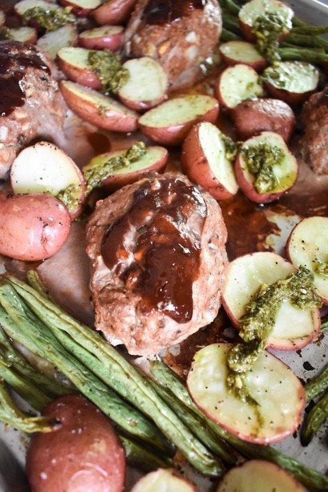 Easy Sheet Pan Turkey Meatloaf Dinner