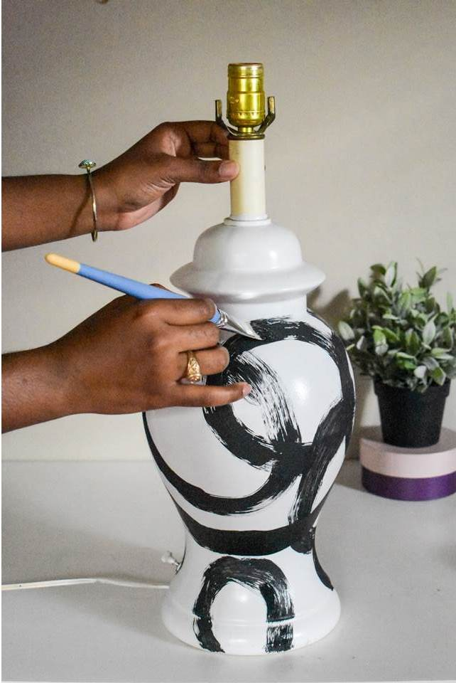 Easy DIY Brushstroke Lamp Tutorial--get the look of an expensive brushstroke lamp for a fraction of the price in 6 easy steps! Dash of Jazz