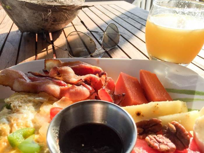 breakfast on the beach at Royal Palm Island resort, Belize