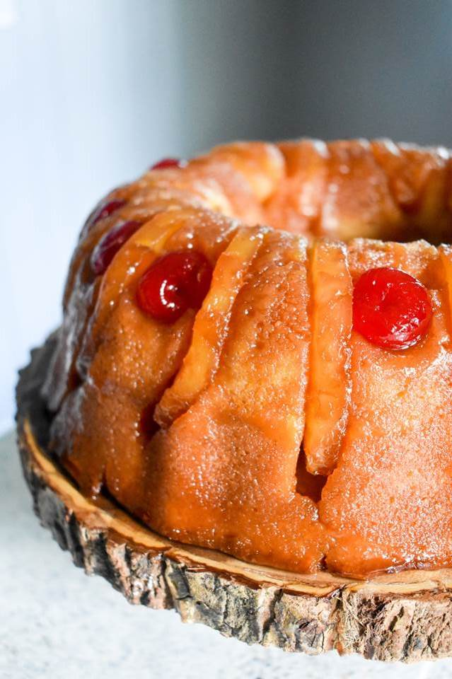 Tipsy Pineapple Upside Down Rum Cake
