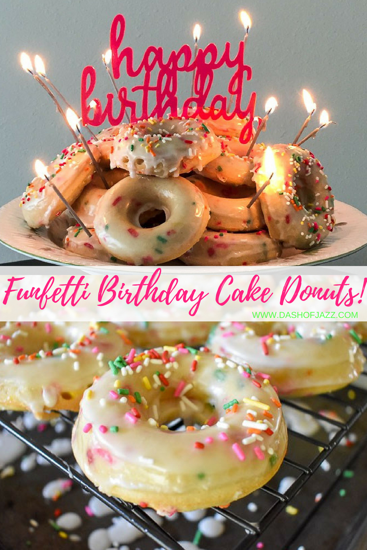 Make these easy and amazing funfetti birthday cake donuts for any day of the year! They're baked with sprinkles, double-dipped in glaze then topped with MORE sprinkles. by Dash of Jazz