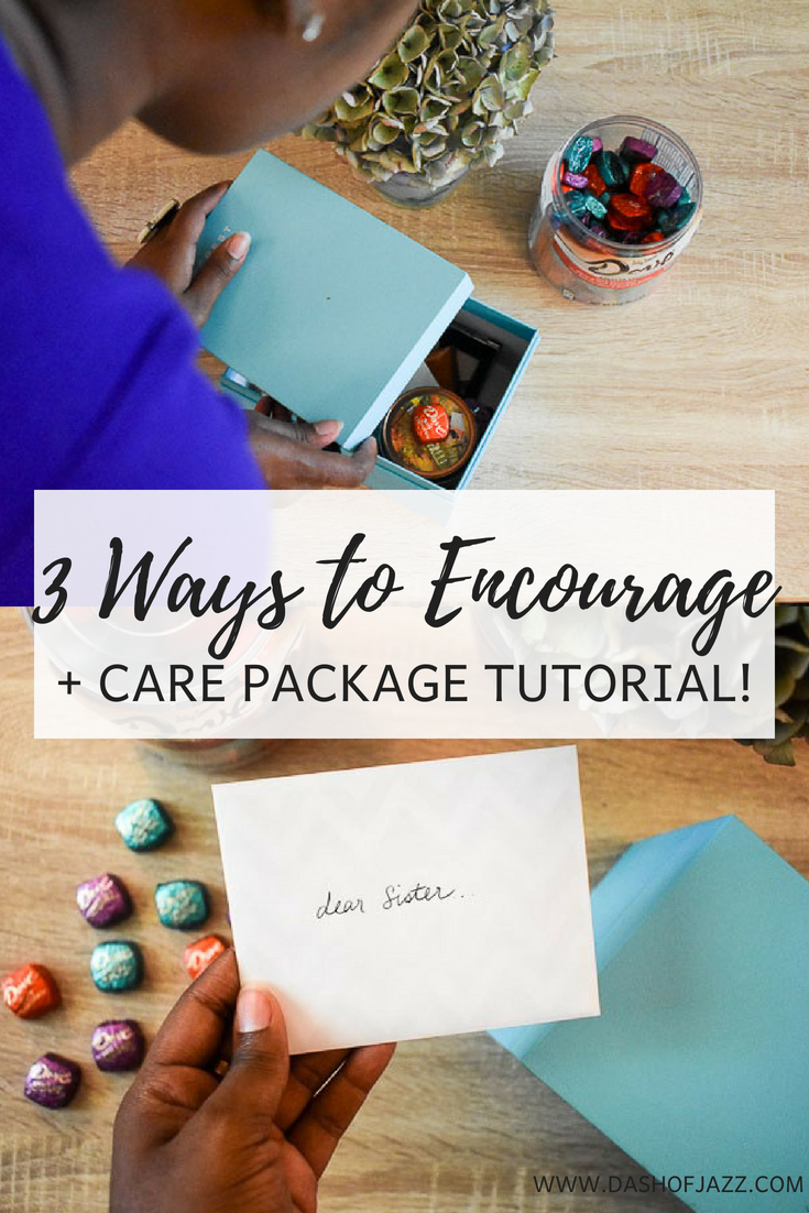 Ideas to encourage the women in your life as well a care package tutorial to serve as an anytime pick-me-up. by Dash of Jazz