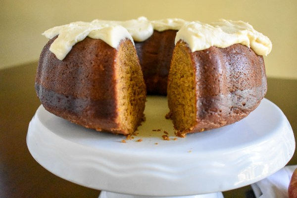 Pumpkin Apple Spice Cake with Maple Cream Cheese Frosting