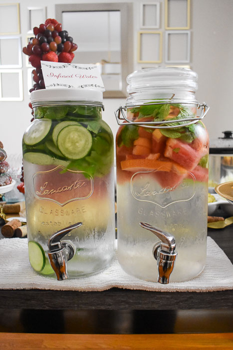 clear dispensers of fruit infused water