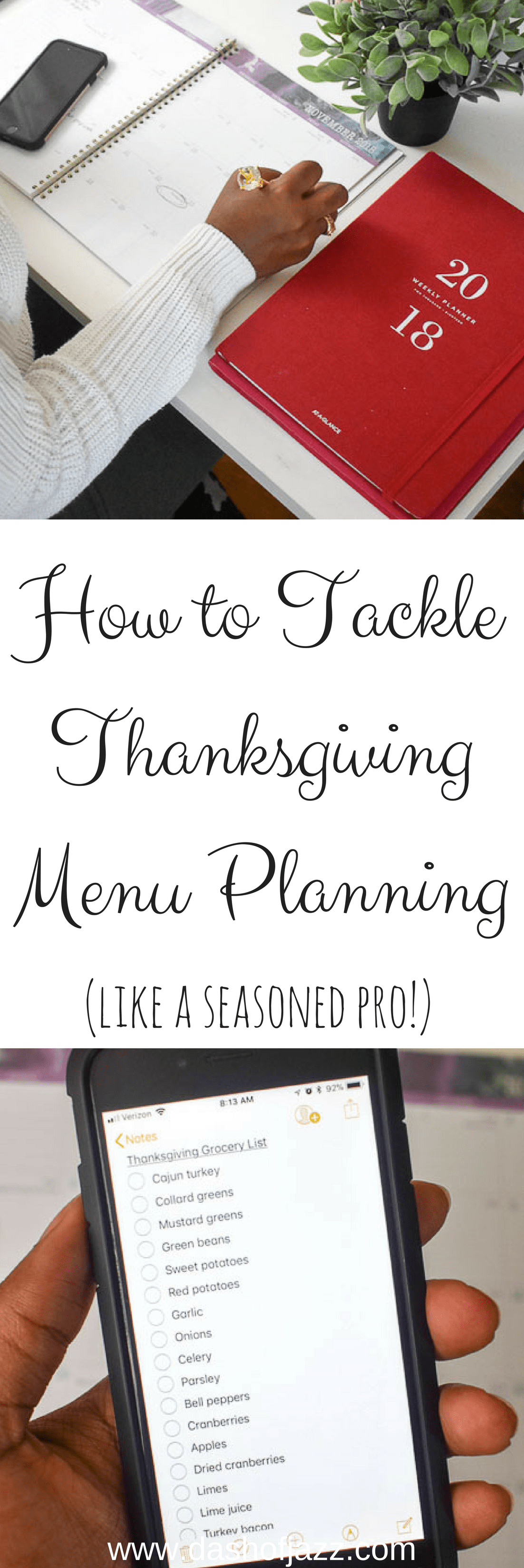 Tips for successfully tackling Thanksgiving menu planning like a seasoned hostess with the mostest! Tutorial by Dash of Jazz and sponsored by At-A-Glance planners. #MyAAG #IC #ad