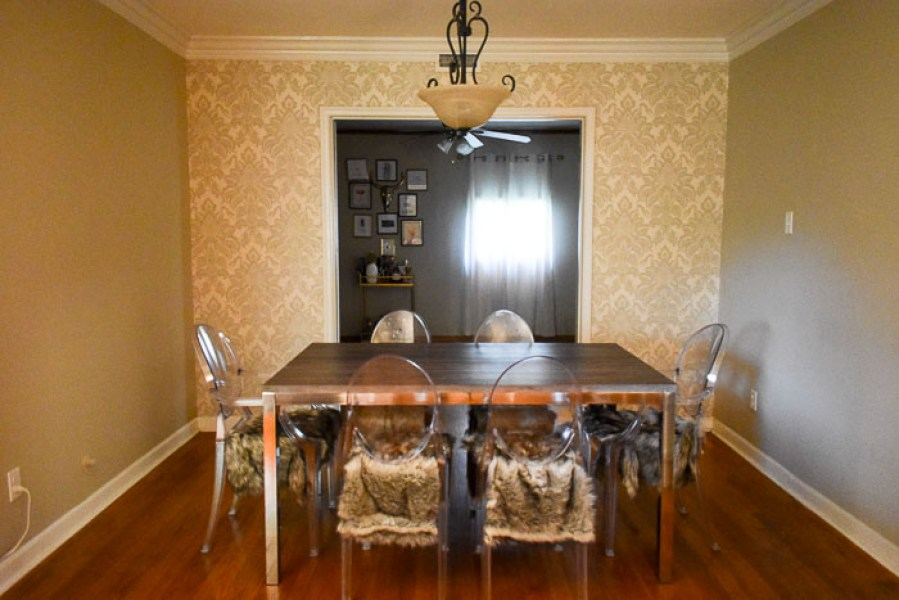 An easy DIY dining room accent wall update with gorgeous sparkling damask wallpaper and all materials coming in under $70. by Dash of Jazz