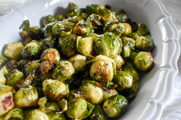 bowl of crispy maple roasted brussels sprouts