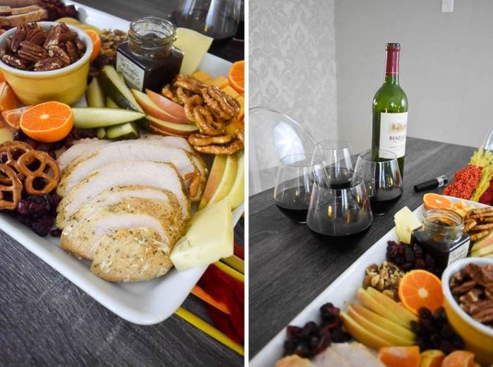 collage of elements for a festive thanksgiving appetizer board