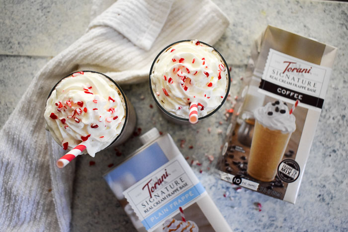 Torani real cream frappe base and frozen peppermint hot cocoa frappes by Dash of Jazz