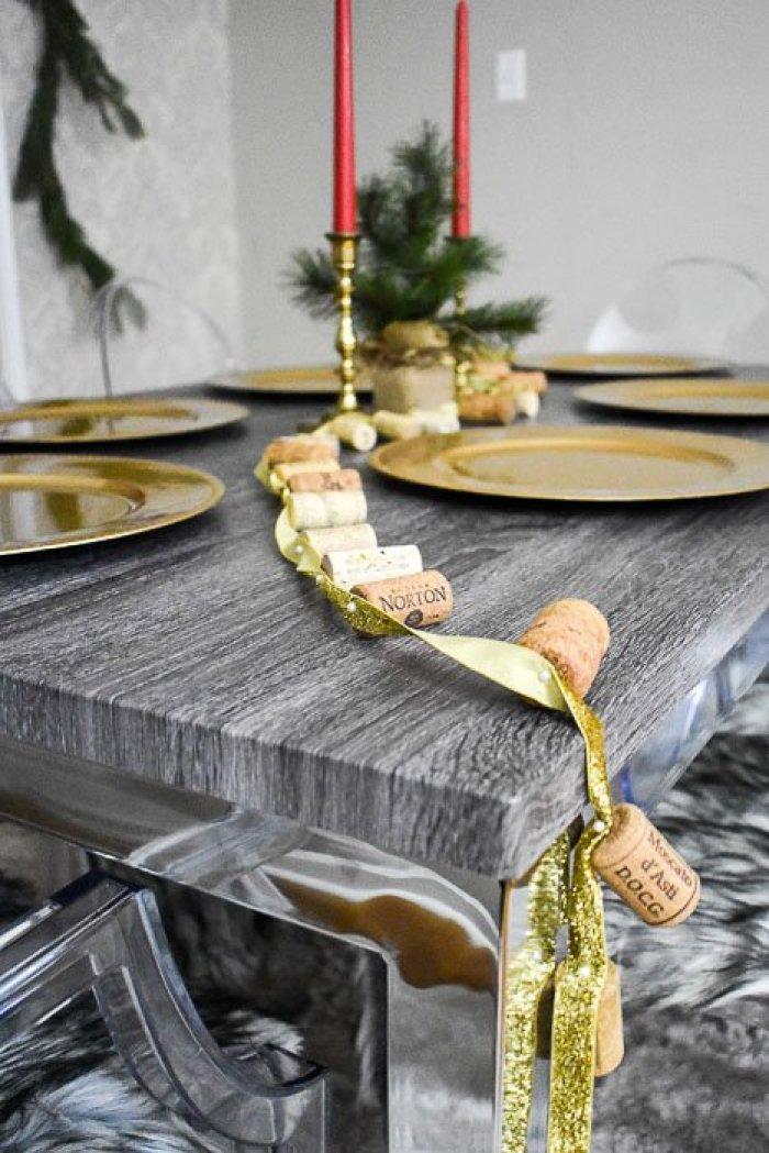 wine cork garland adorning dining room table