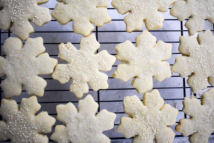 tahini sugar cookies cooling on a rack