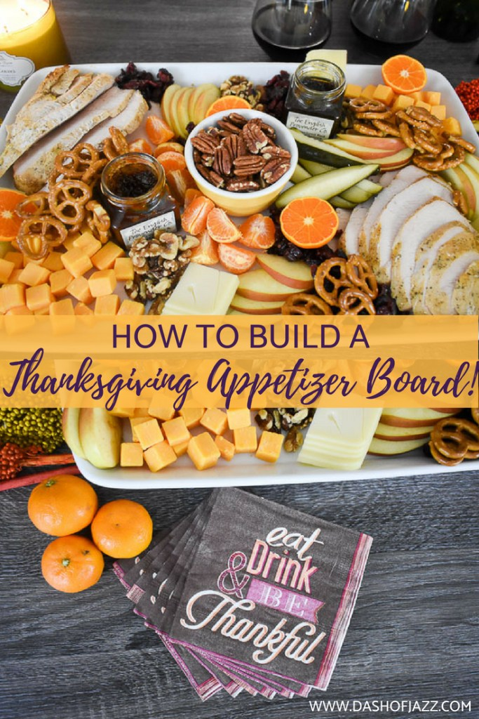 thanksgiving appetizer board collage with text overlay