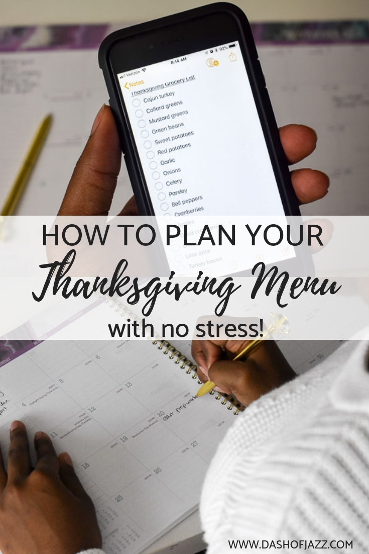 Tips for successfully tackling Thanksgiving menu planning like a seasoned hostess with the mostest! Tutorial by Dash of Jazz and sponsored by At-A-Glance planners. #thanksgiving #menuplanning
