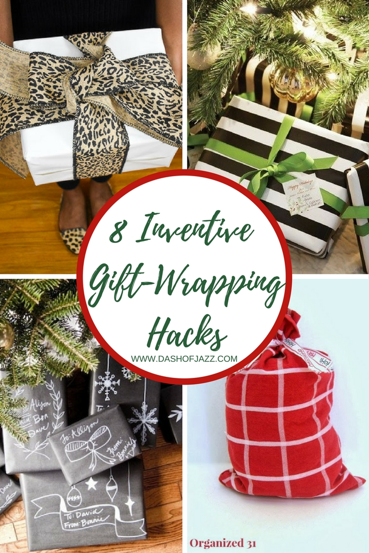 A roundup of 8 inventive gift-wrapping hacks good for the holidays and beyond by Dash of Jazz #dashofjazzblog #giftwrappingideasforChristmas #giftwrappingideas #giftwrappingideascreative #Christmasideas