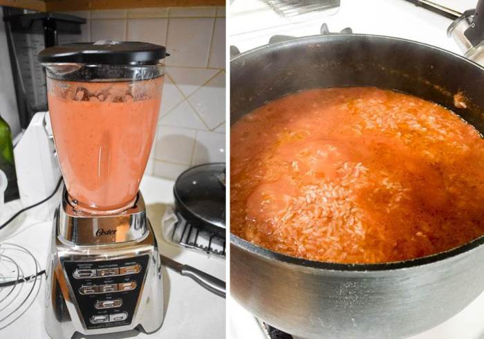 side by side of blended stew ingredients in a blender and steaming pot of jollof rice cooking in the same stew