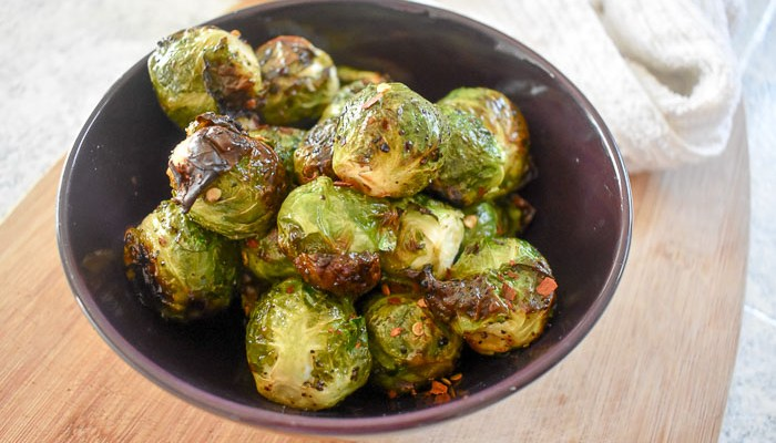 Spicy Honey Roasted Brussels Sprouts