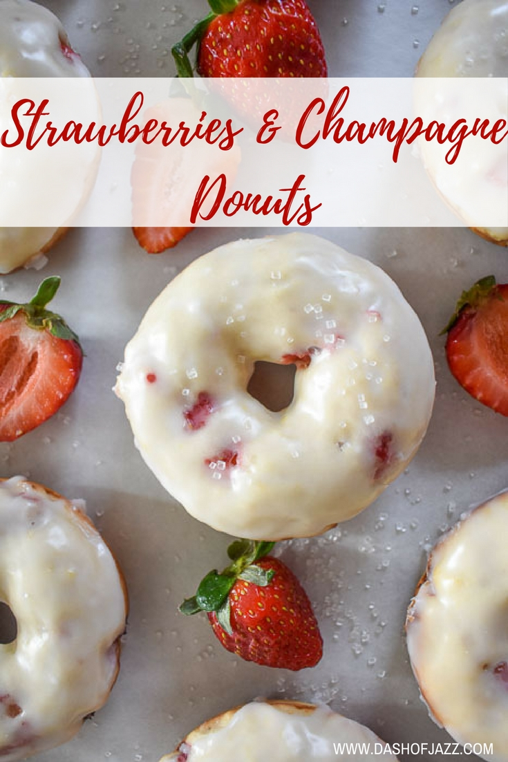 Simple, sweet, and ultra-romantic: baked strawberries & champagne donuts are true to flavor and perfect for Valentine's Day or any day! Get the easy-to-follow recipe here. Recipe by Dash of Jazz