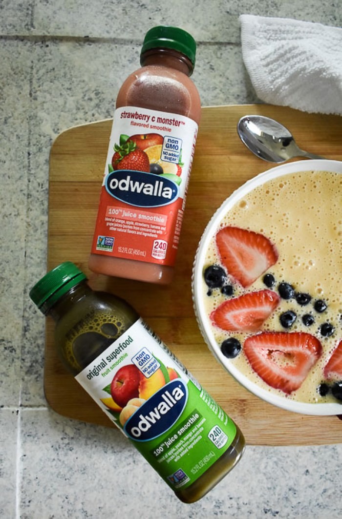 Odwalla strawberry C Monster and Original Superfood juice smoothies next to a smoothie bowl