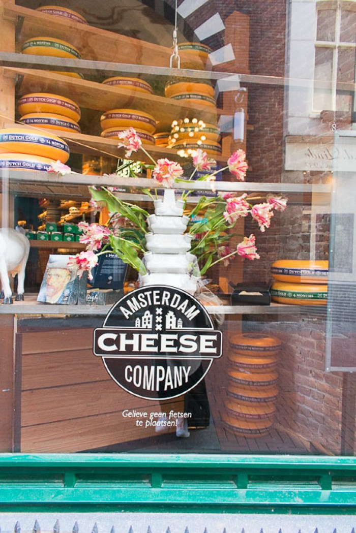 Window display at Amsterdam Cheese Company in Central Amsterdam