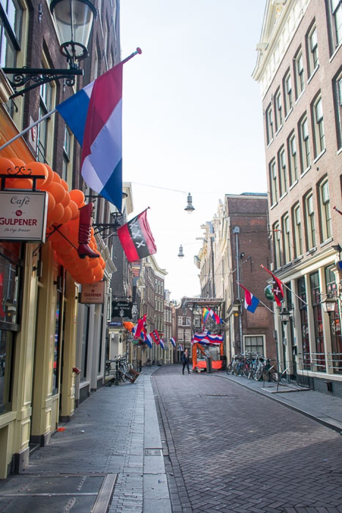 Central Amsterdam decorated for King's Day 2018