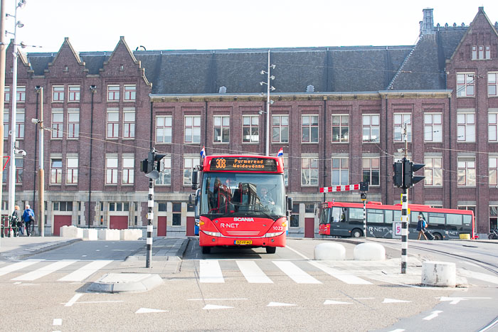bus near centraal station in Amsterdam, The Netherlands