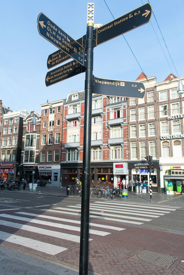 Street sign near Central Station in Amsterdam, The Netherlands