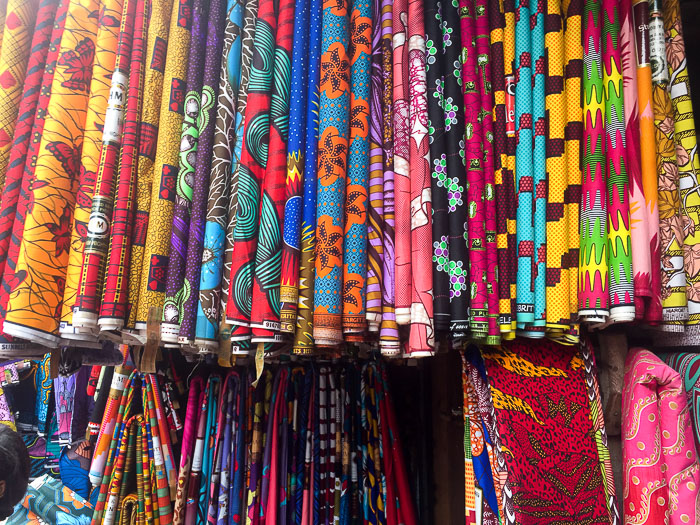 display of ankara fabric for sale at Balogun Market, Lagos, Nigeria