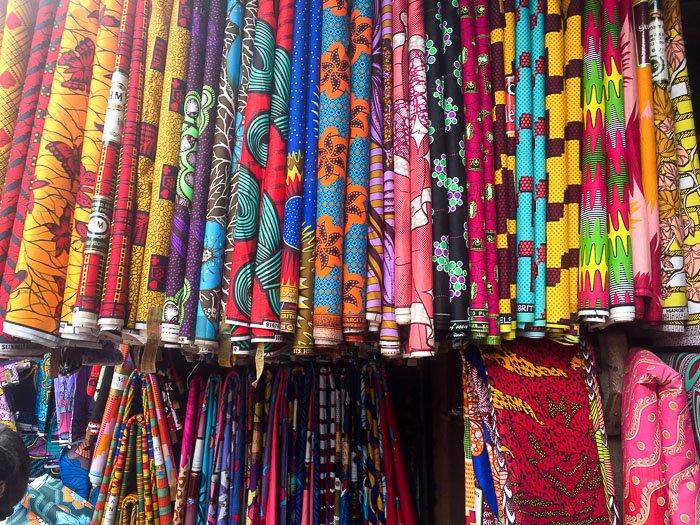 display of ankara fabric for sale in Balogun Market, Lagos, Nigeria