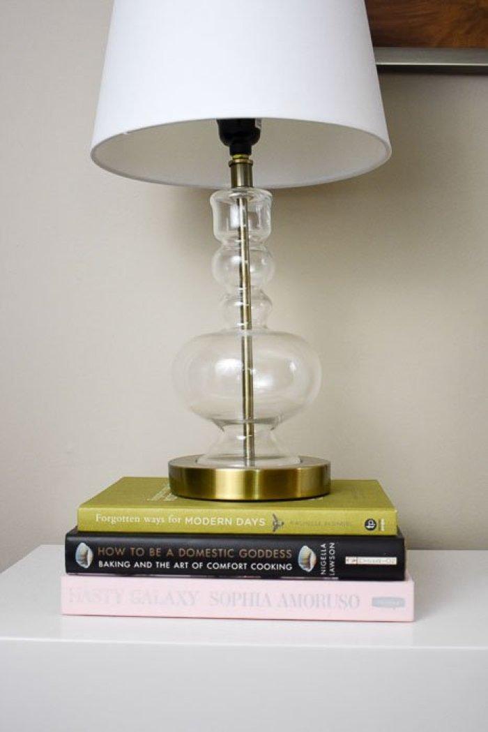 threshold lamp on stack of three books