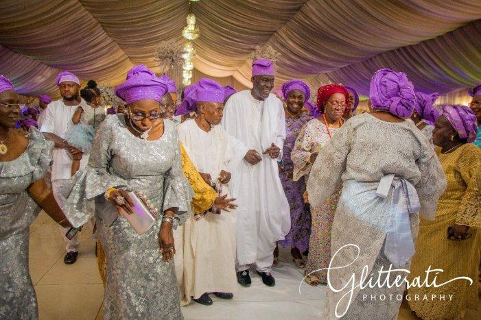 family celebrating at Yoruba wedding in Ikeja, Lagos, Nigeria
