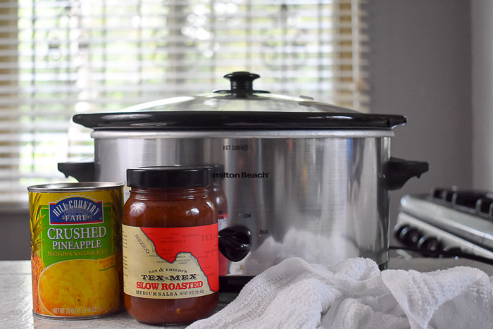 can of crushed pineapple, jar of medium salsa, and Hamilton Beach slow cooker