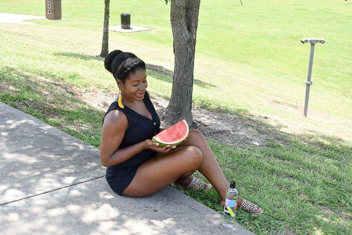Dash of Jazz holding watermelon slice