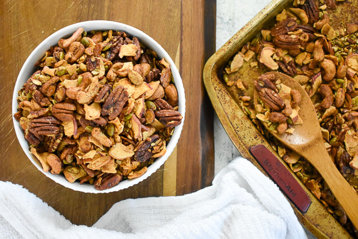 bowl and pan of apple cinnamon grain-free granola