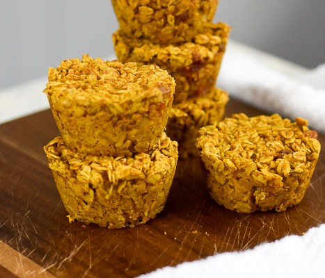 Pumpkin Walnut Oatmeal Muffins