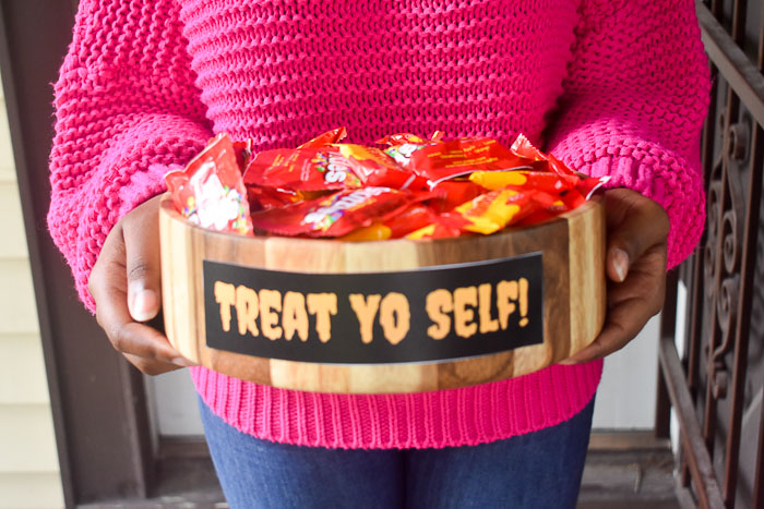 treat yo self candy bowl filled with treats