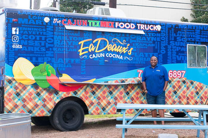Owner-operator Jason Harry in front of EaDeaux's food truck in Houston, TX