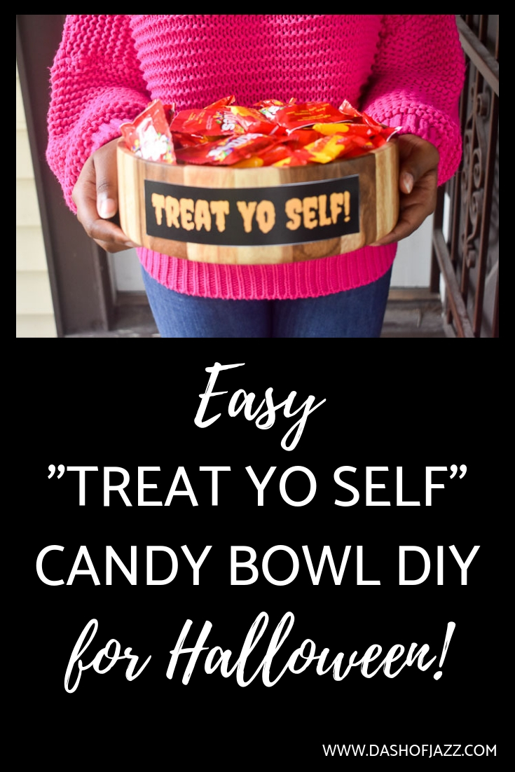 Learn how to make this easy Halloween candy bowl DIY project and pick up some useful tips for welcoming trick or treaters to your front door from Dash of Jazz #dashofjazzblog #easyhalloweencrafts