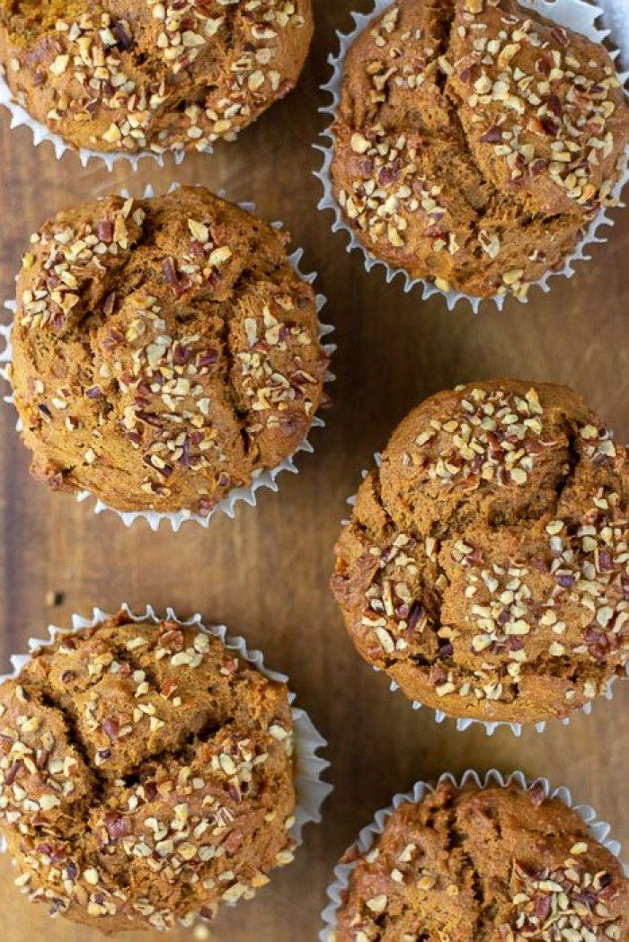 six sweet potato gingerbread muffins